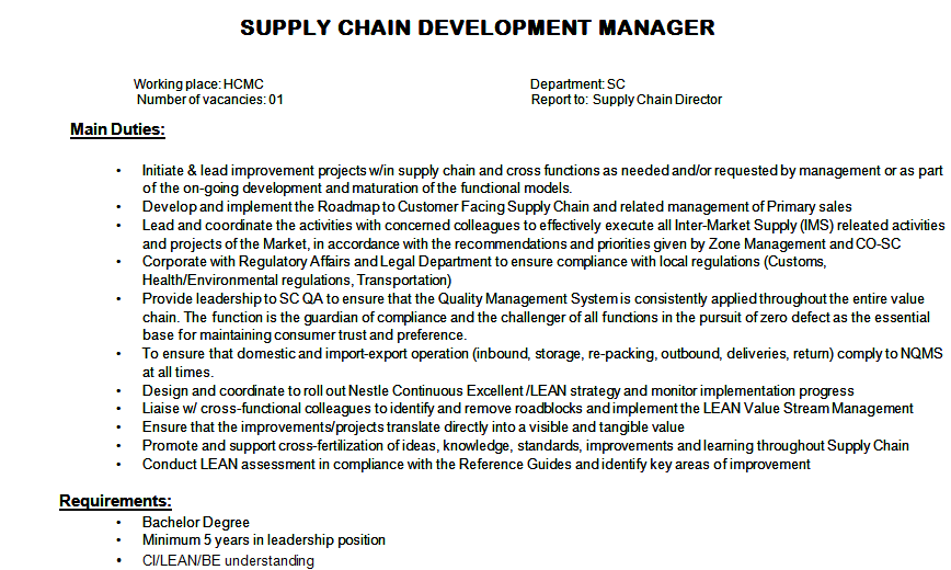 supply chain management at nestle Supply chain management star star star star star work/life balance career opportunities comp & benefits senior management former employee - supply chain.